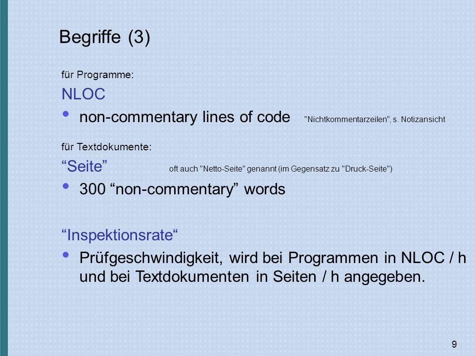Begriffe (3) für Programme: NLOC. non-commentary lines of code Nichtkommentarzeilen , s. Notizansicht.