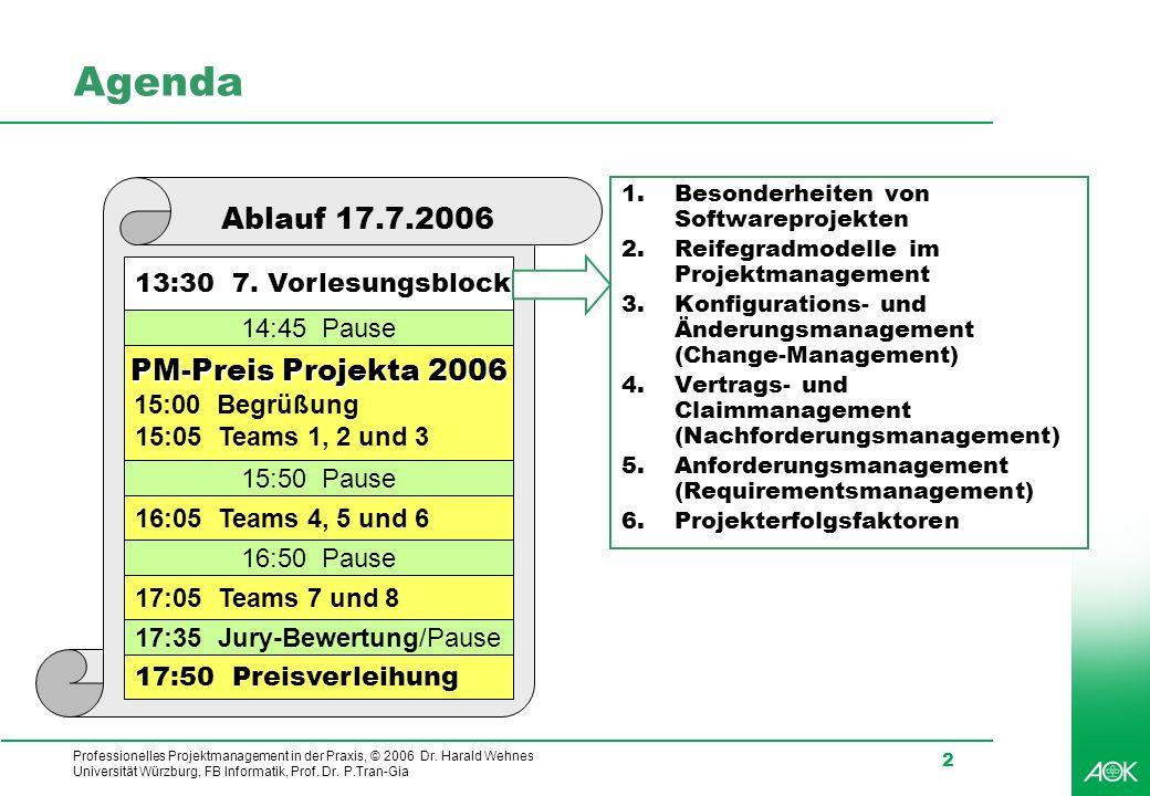 Agenda Ablauf 17.7.2006 PM-Preis Projekta 2006