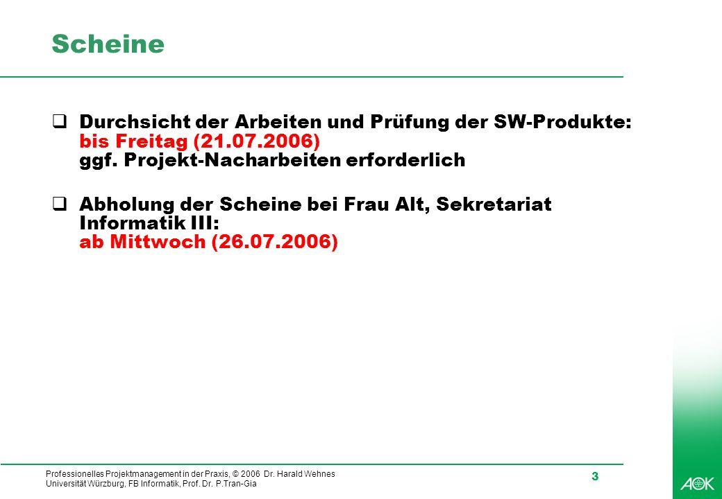 Scheine Durchsicht der Arbeiten und Prüfung der SW-Produkte: bis Freitag (21.07.2006) ggf. Projekt-Nacharbeiten erforderlich.