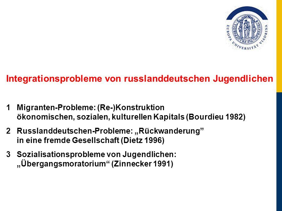 Integrationsprobleme von russlanddeutschen Jugendlichen