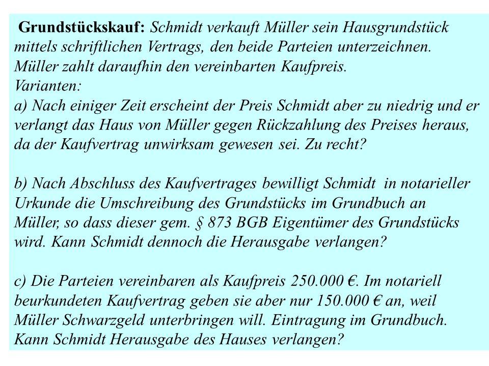 Grundstückskauf: Schmidt verkauft Müller sein Hausgrundstück