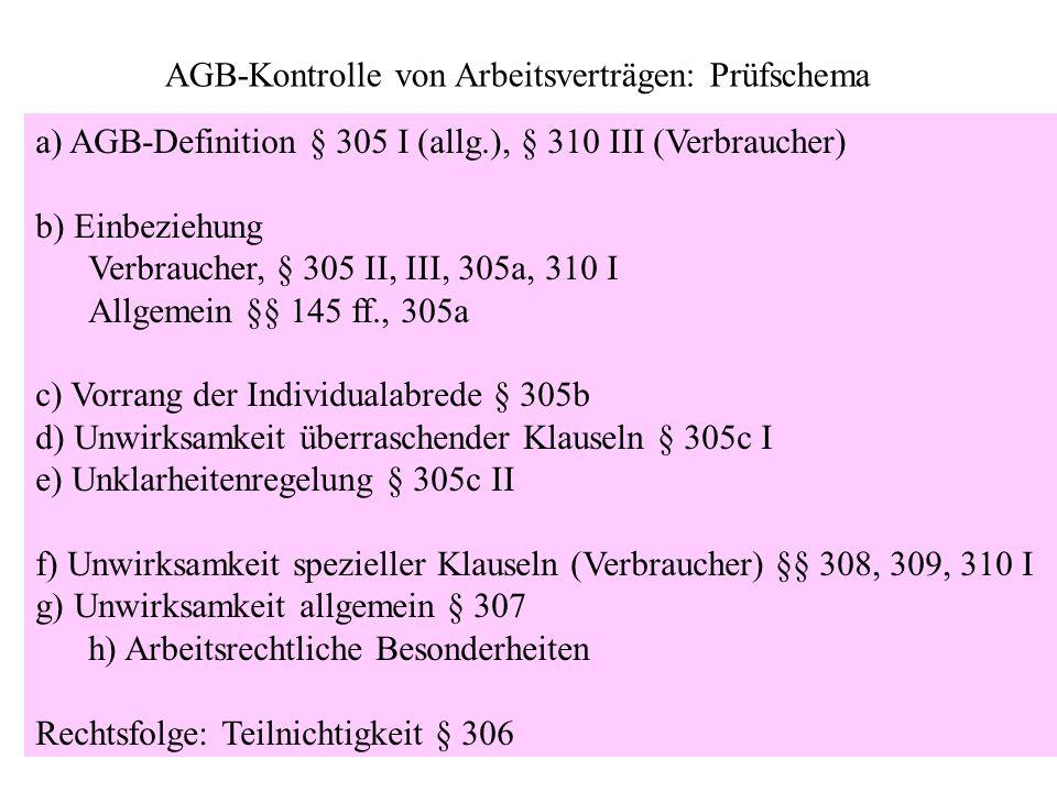 AGB-Kontrolle von Arbeitsverträgen: Prüfschema