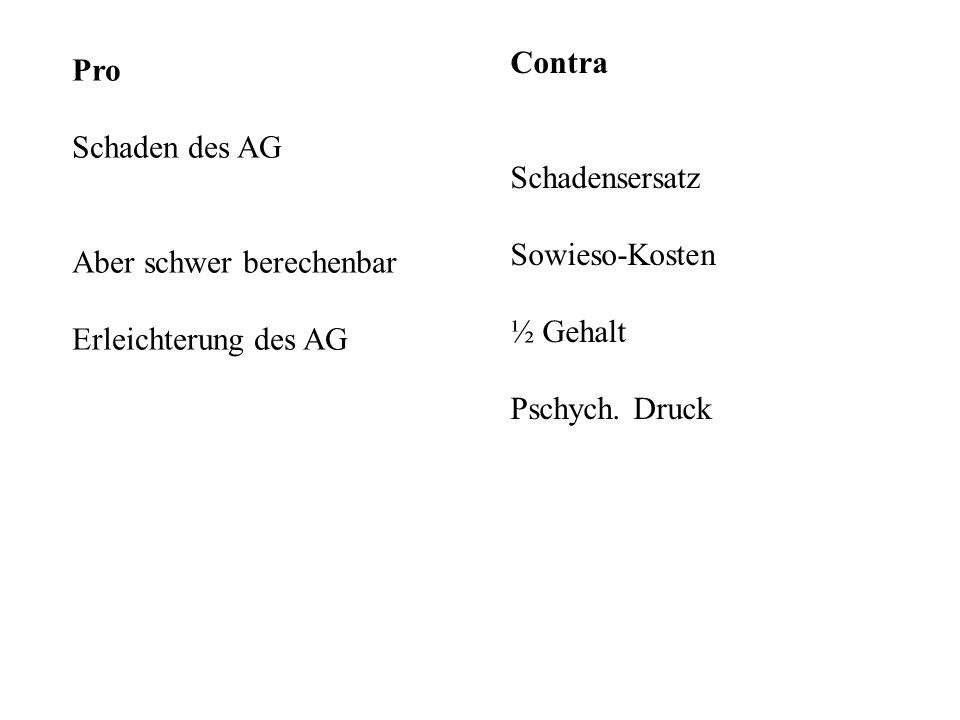 Contra Schadensersatz. Sowieso-Kosten. ½ Gehalt. Pschych. Druck. Pro. Schaden des AG. Aber schwer berechenbar.