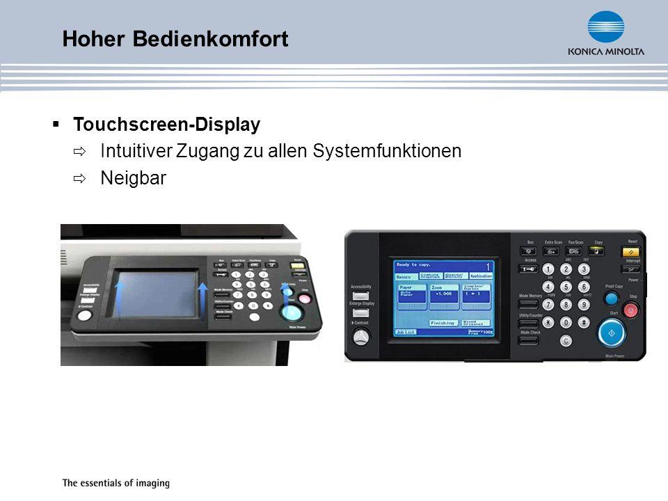 Hoher Bedienkomfort Touchscreen-Display