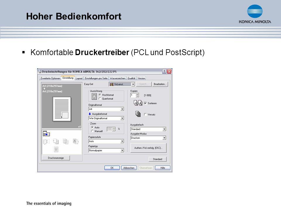 Hoher Bedienkomfort Komfortable Druckertreiber (PCL und PostScript)