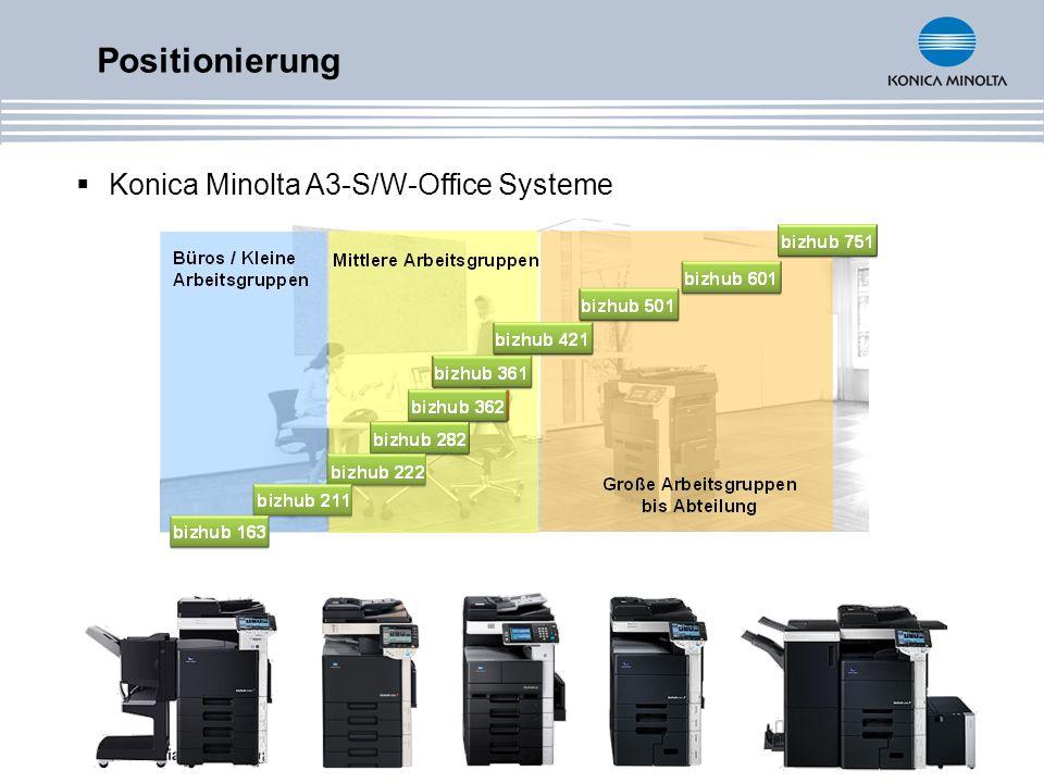 Positionierung Konica Minolta A3-S/W-Office Systeme