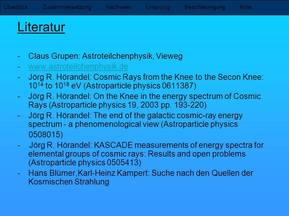Literatur Claus Grupen: Astroteilchenphysik, Vieweg