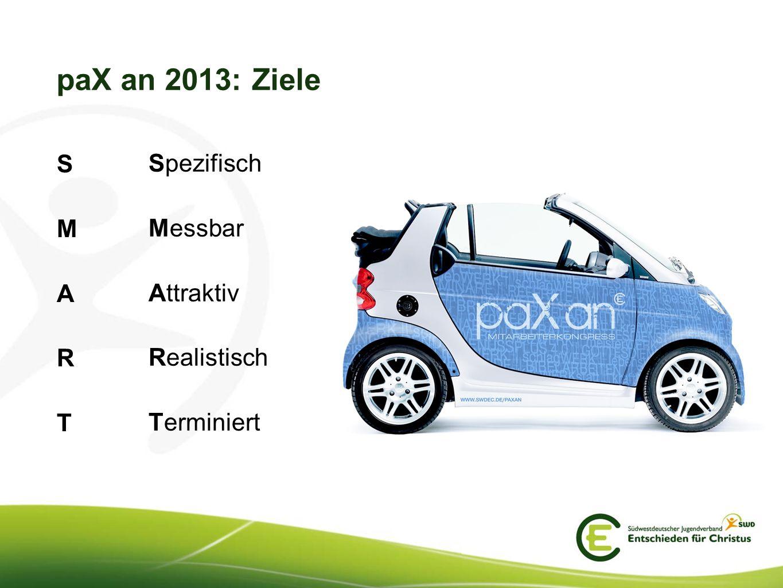 paX an 2013: Ziele S Spezifisch M Messbar A Attraktiv R Realistisch T