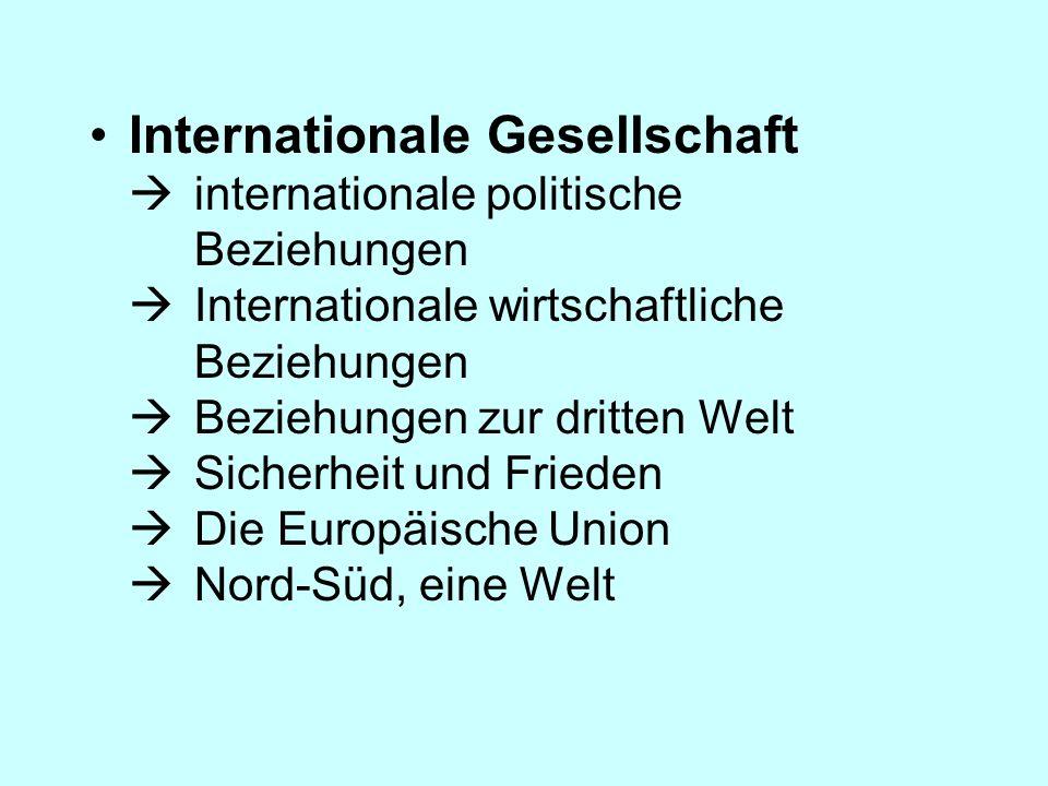 Internationale Gesellschaft  internationale politische Beziehungen  Internationale wirtschaftliche Beziehungen  Beziehungen zur dritten Welt  Sicherheit und Frieden  Die Europäische Union  Nord-Süd, eine Welt