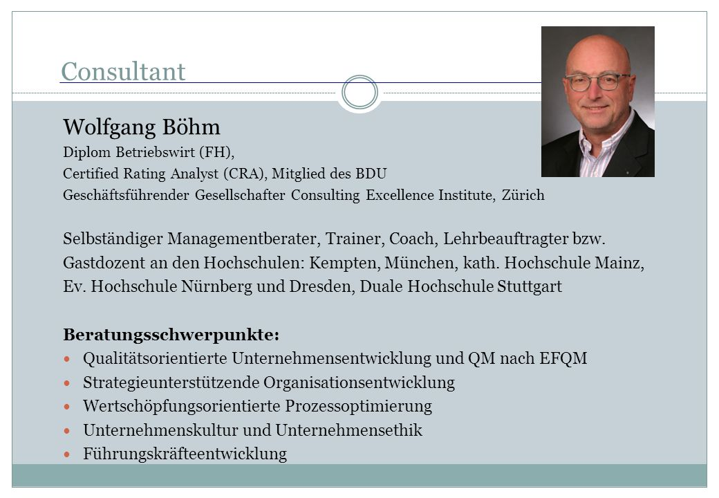 Consultant Wolfgang Böhm