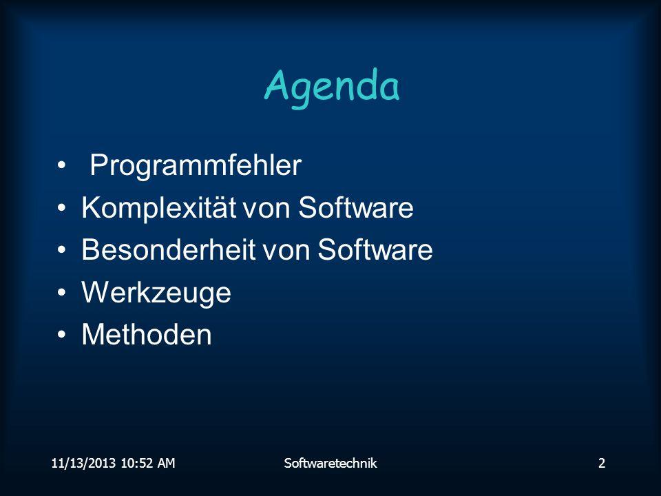 Agenda Programmfehler Komplexität von Software