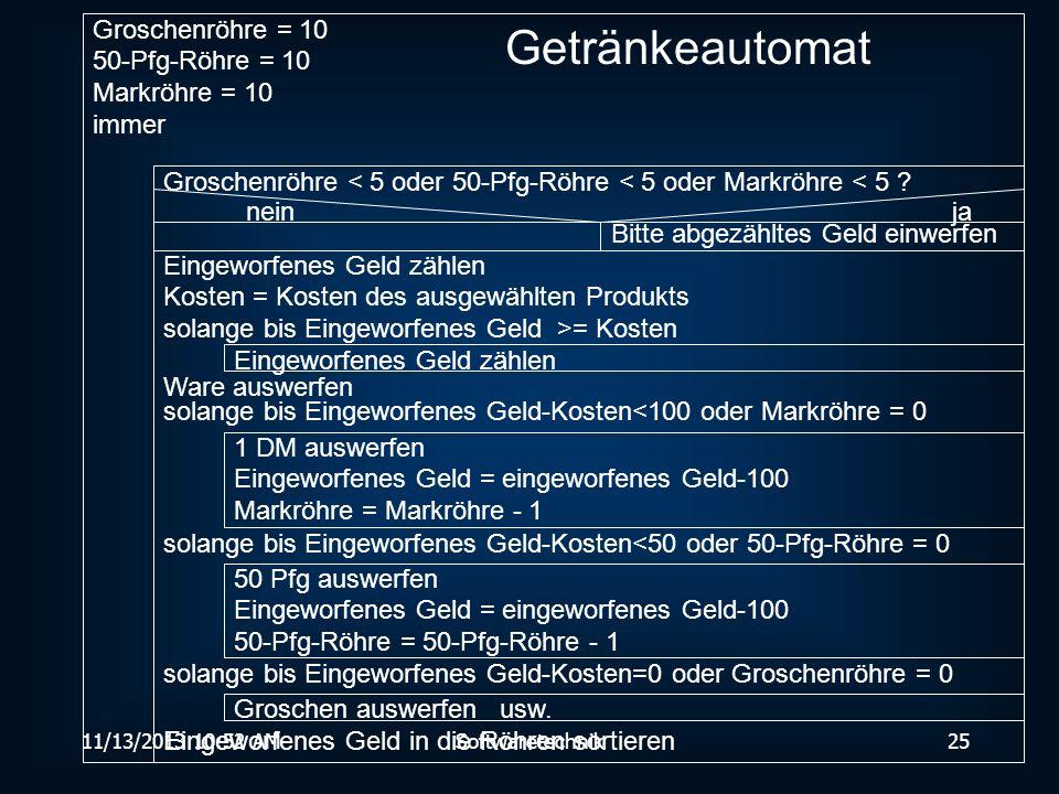Getränkeautomat Groschenröhre = 10 50-Pfg-Röhre = 10 Markröhre = 10
