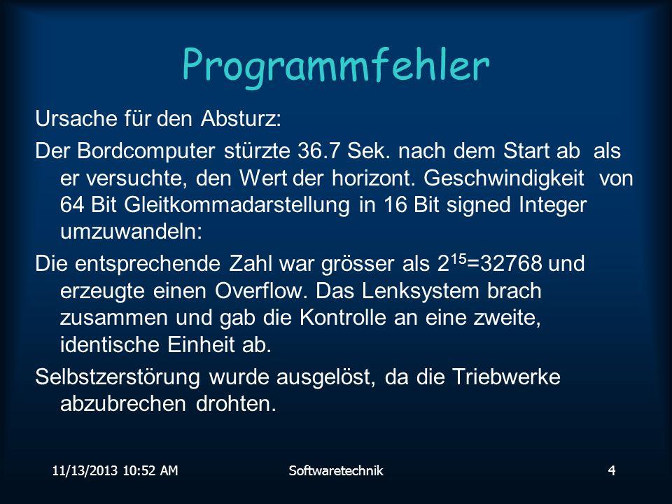 Programmfehler Ursache für den Absturz: