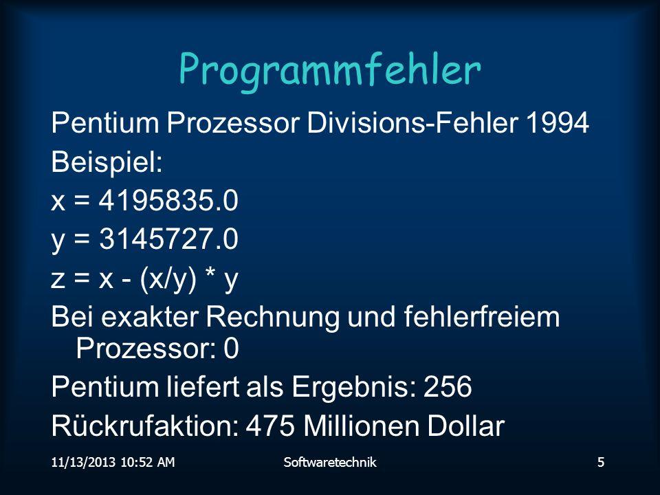 Programmfehler Pentium Prozessor Divisions-Fehler 1994 Beispiel: