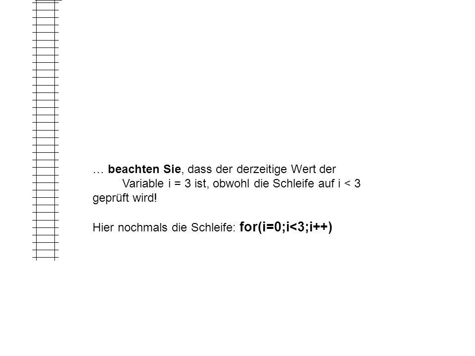 3 … beachten Sie, dass der derzeitige Wert der. Variable i = 3 ist, obwohl die Schleife auf i < 3.