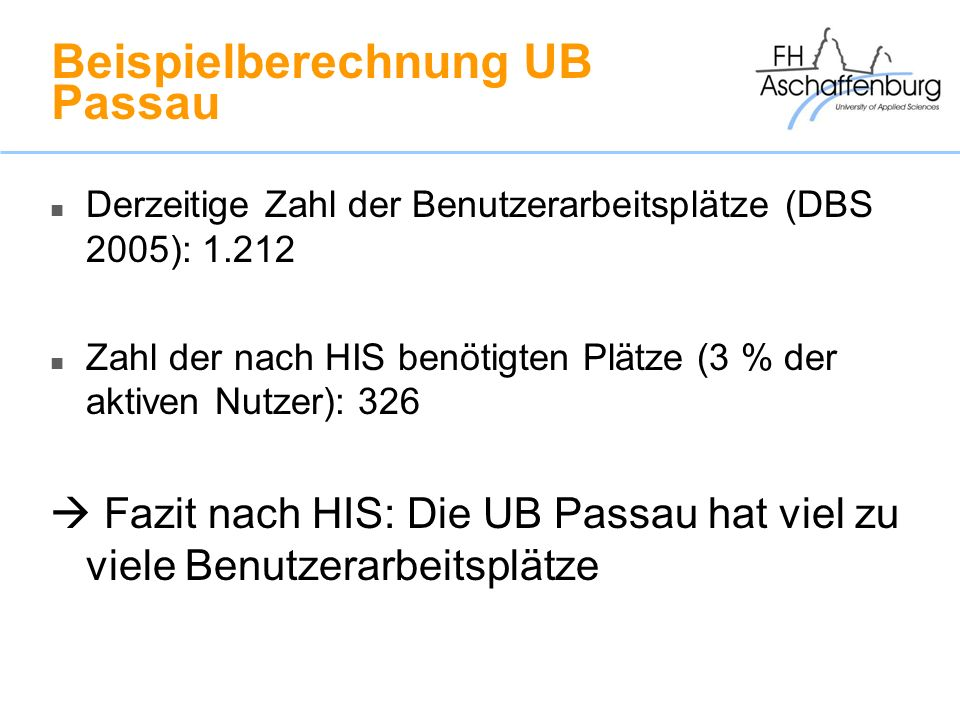 Beispielberechnung UB Passau