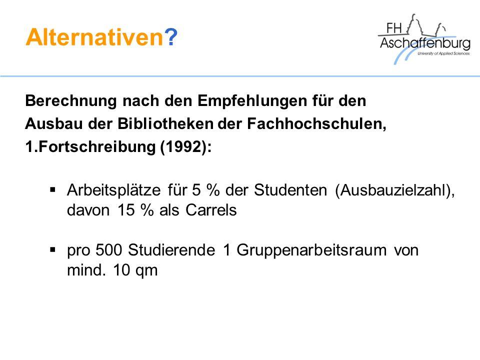 Alternativen Arbeitsplätze für 5 % der Studenten (Ausbauzielzahl),