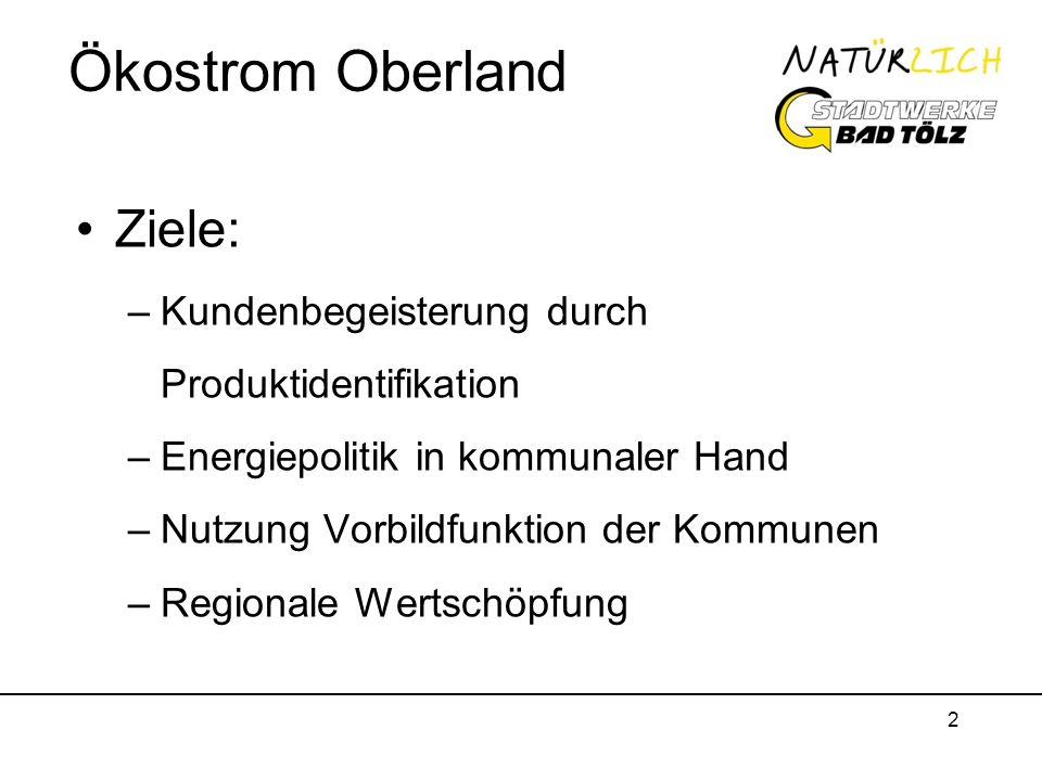 Ökostrom Oberland Ziele: