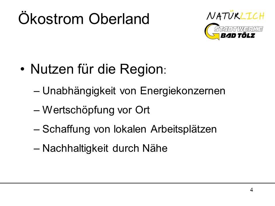 Ökostrom Oberland Nutzen für die Region: