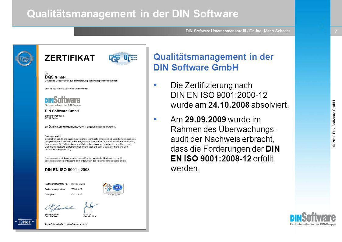 Qualitätsmanagement in der DIN Software
