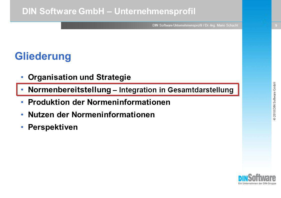 Gliederung DIN Software GmbH – Unternehmensprofil