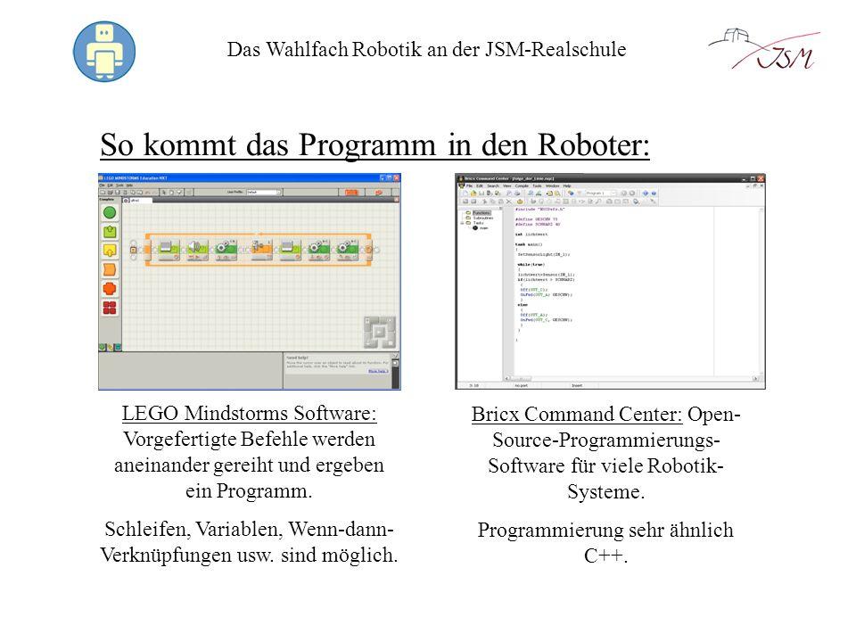 So kommt das Programm in den Roboter: