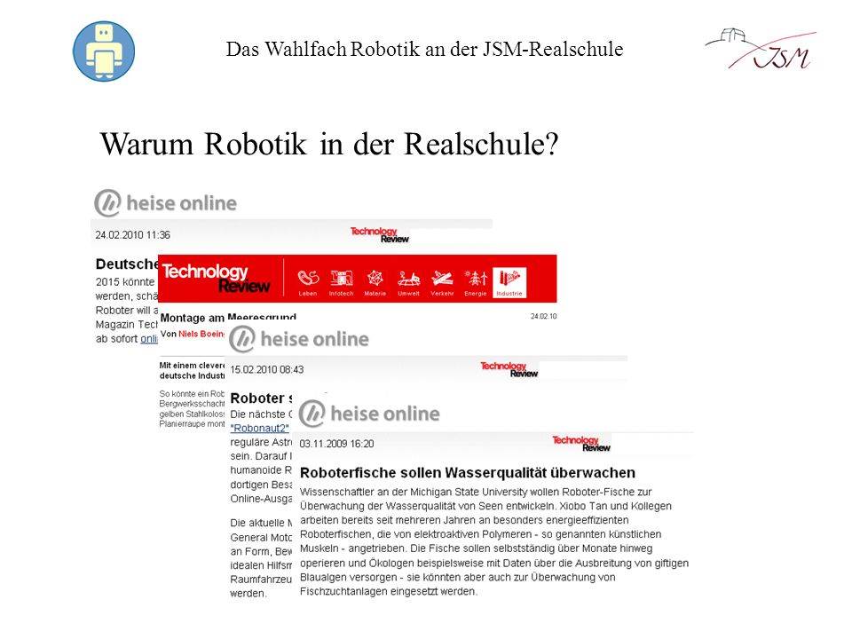 Das Wahlfach Robotik an der JSM-Realschule