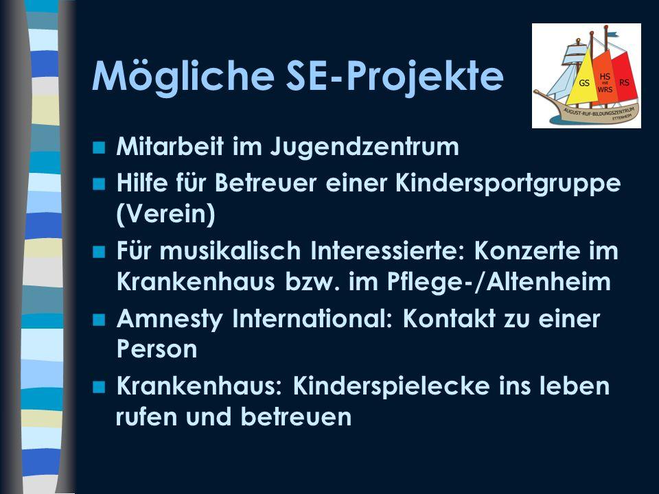 Mögliche SE-Projekte Mitarbeit im Jugendzentrum