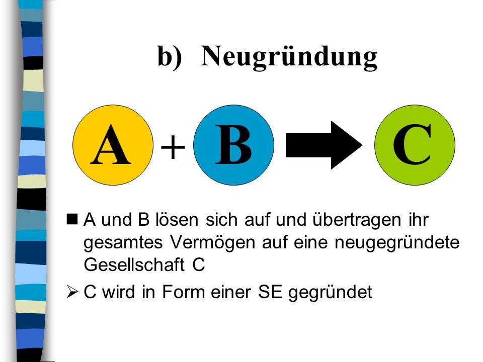 NeugründungC. + A. B. A und B lösen sich auf und übertragen ihr gesamtes Vermögen auf eine neugegründete Gesellschaft C.