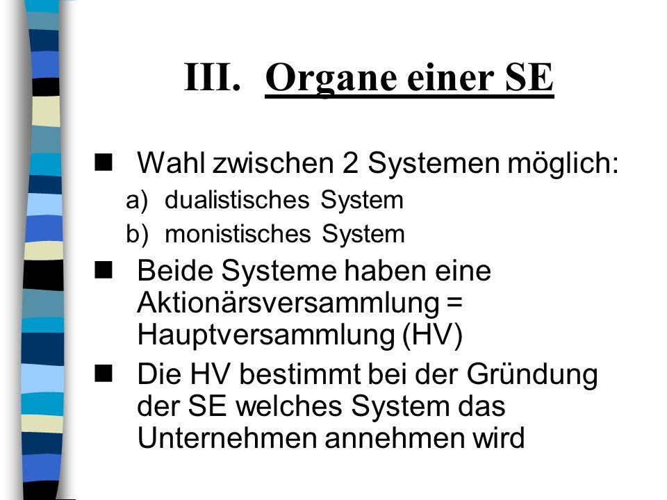 Organe einer SE Wahl zwischen 2 Systemen möglich: