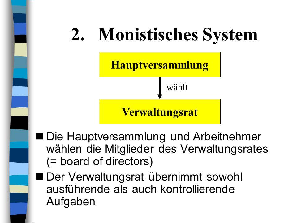 Monistisches System Hauptversammlung Verwaltungsrat