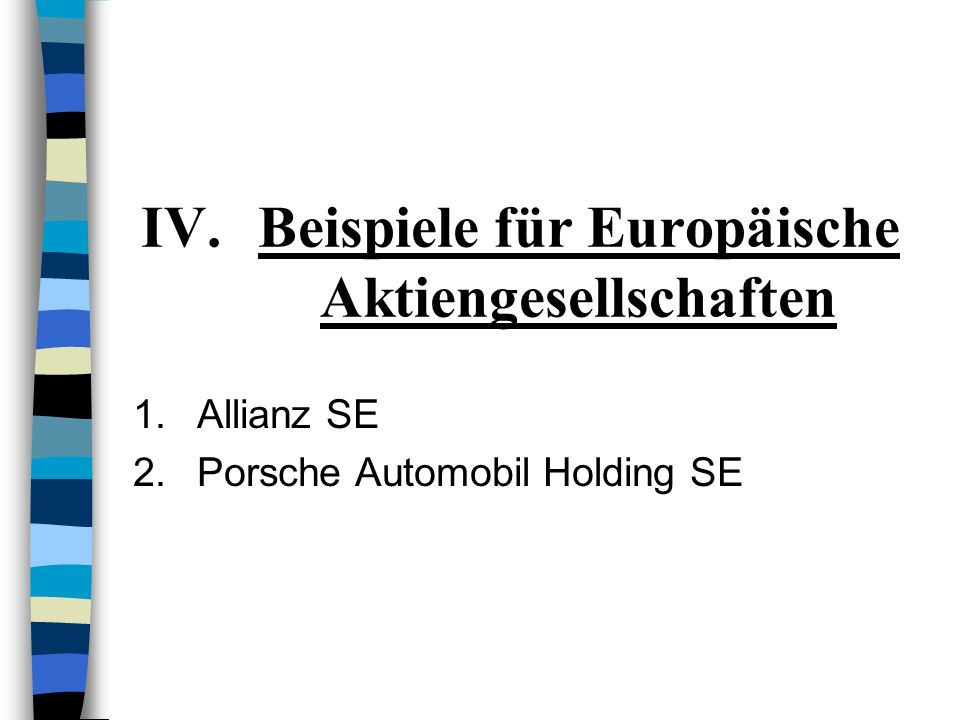 Beispiele für Europäische Aktiengesellschaften