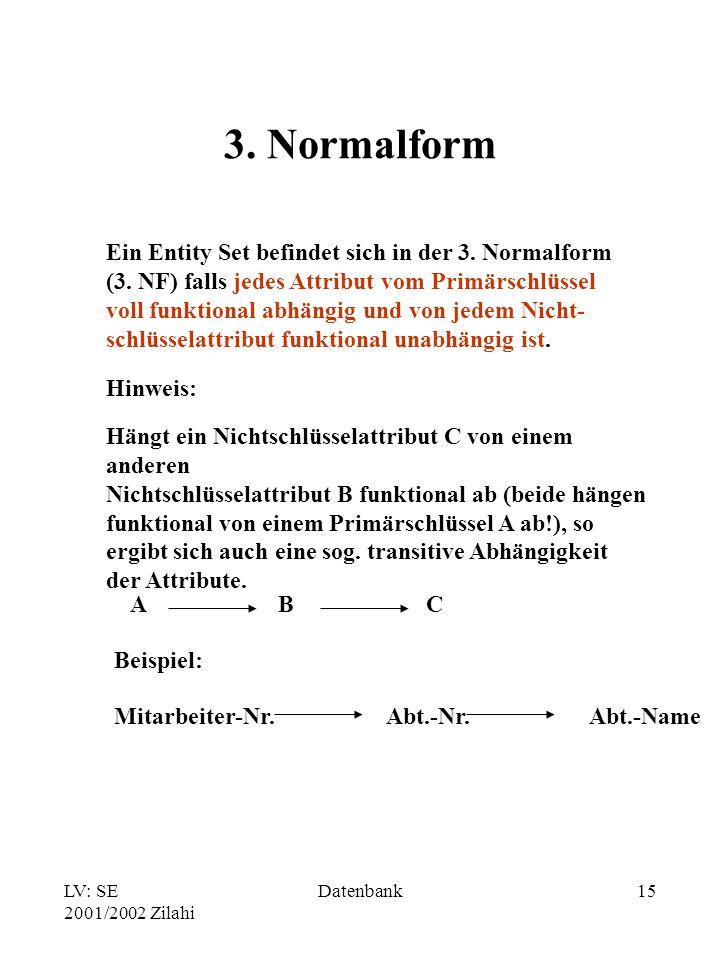 3. Normalform Ein Entity Set befindet sich in der 3. Normalform