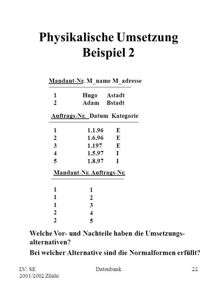 Physikalische Umsetzung Beispiel 2