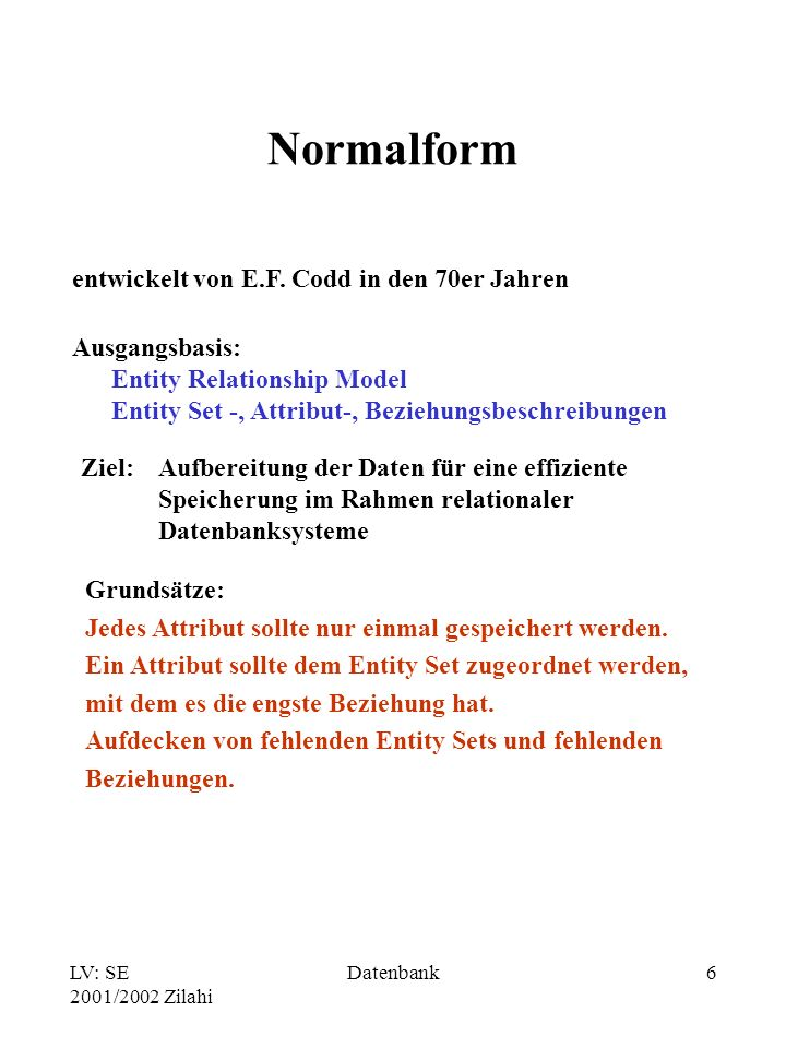 Normalform entwickelt von E.F. Codd in den 70er Jahren