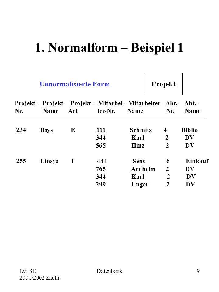 1. Normalform – Beispiel 1 Unnormalisierte Form Projekt