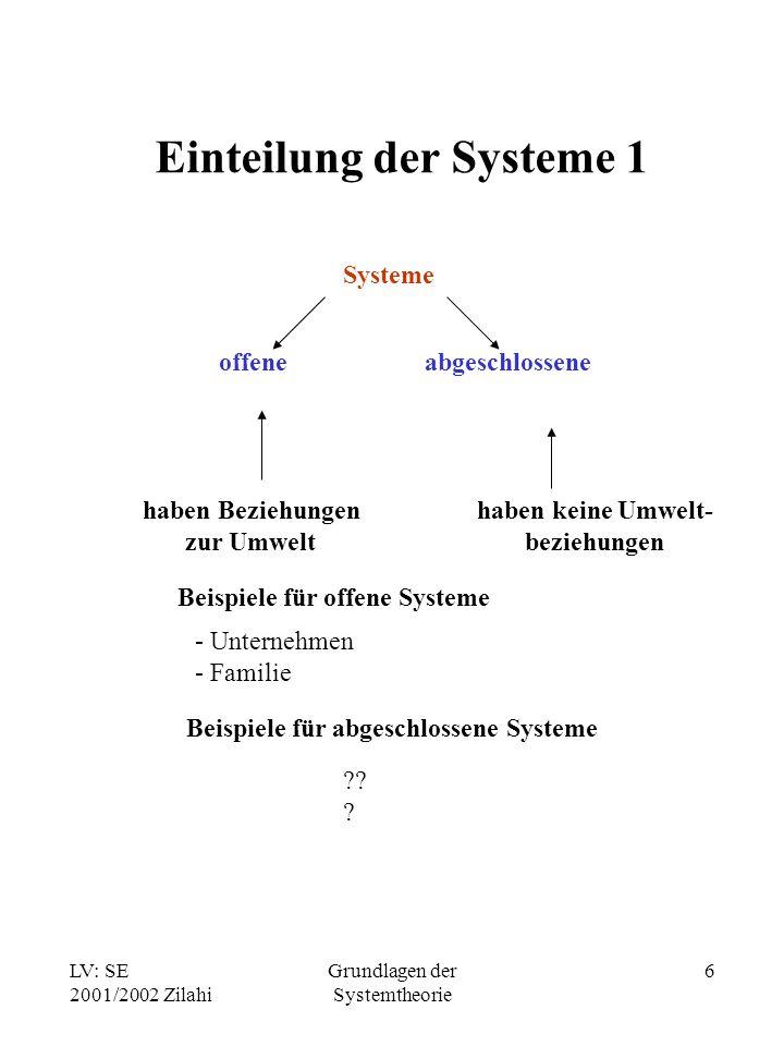Einteilung der Systeme 1