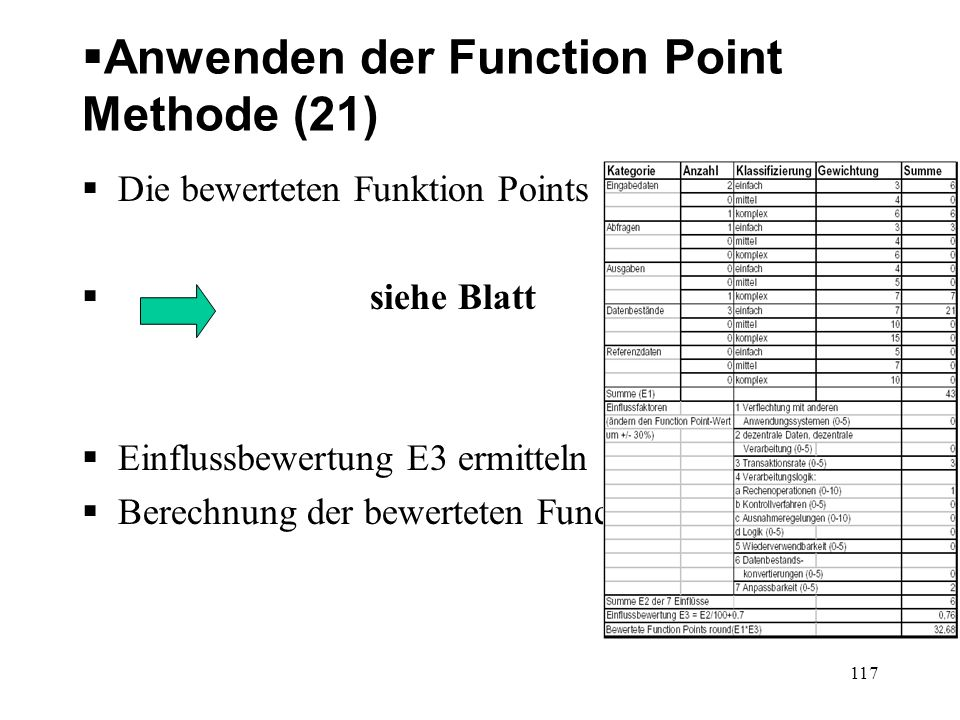 Anwenden der Function Point Methode (21)