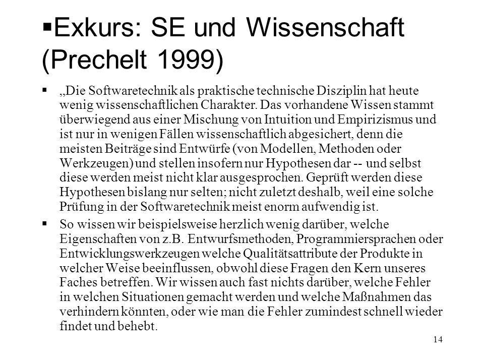 Exkurs: SE und Wissenschaft (Prechelt 1999)