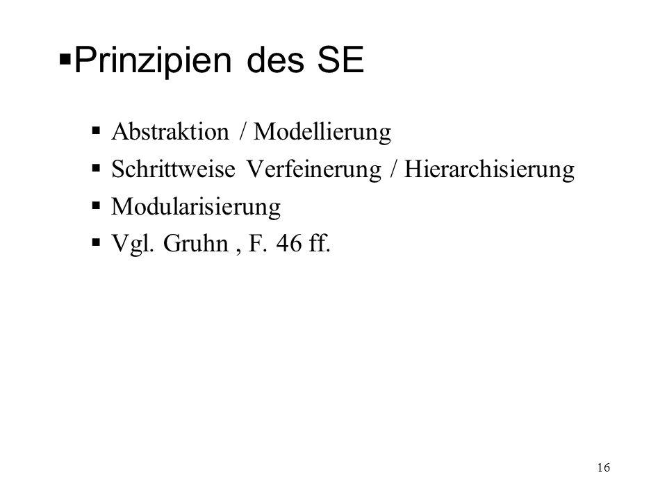 Prinzipien des SE Abstraktion / Modellierung