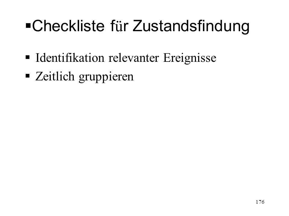 Checkliste für Zustandsfindung