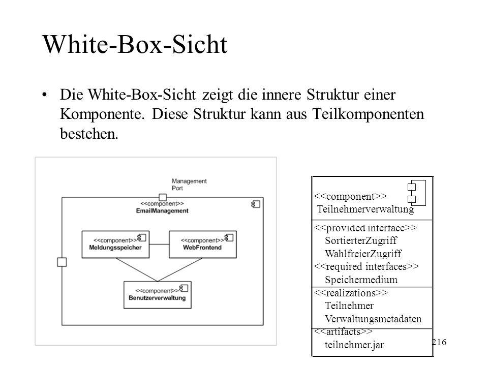 White-Box-Sicht Die White-Box-Sicht zeigt die innere Struktur einer Komponente. Diese Struktur kann aus Teilkomponenten bestehen.