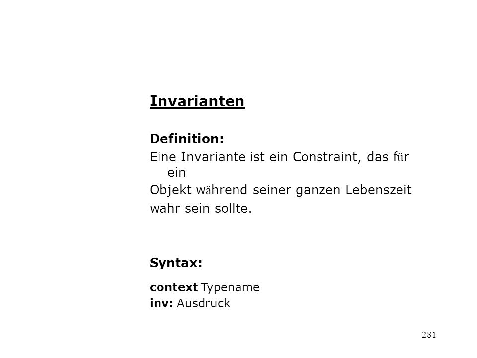 Invarianten Definition: