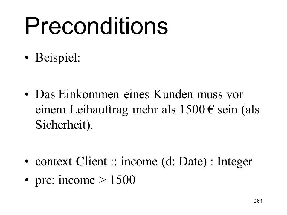 Preconditions Beispiel: