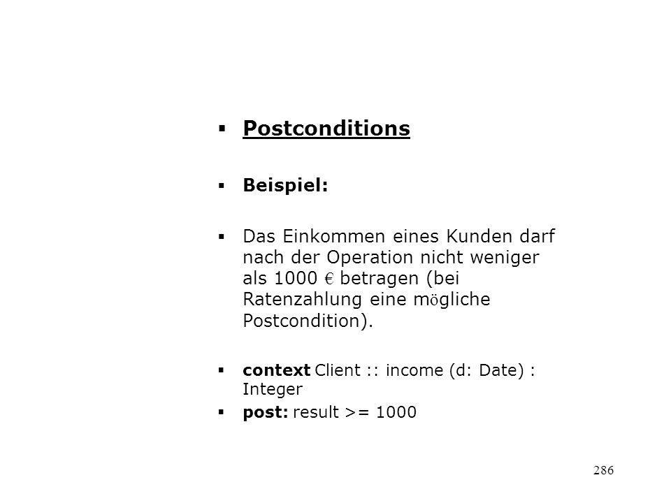 Postconditions Beispiel:
