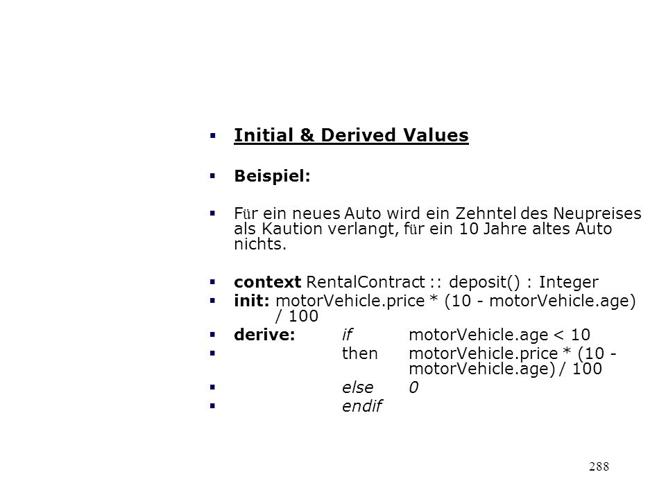 Initial & Derived Values
