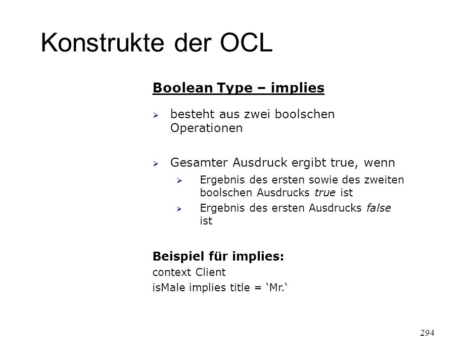 Konstrukte der OCL Boolean Type – implies