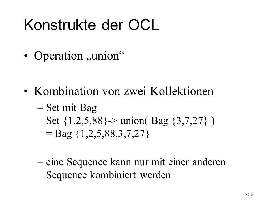 """Konstrukte der OCL Operation """"union Kombination von zwei Kollektionen"""