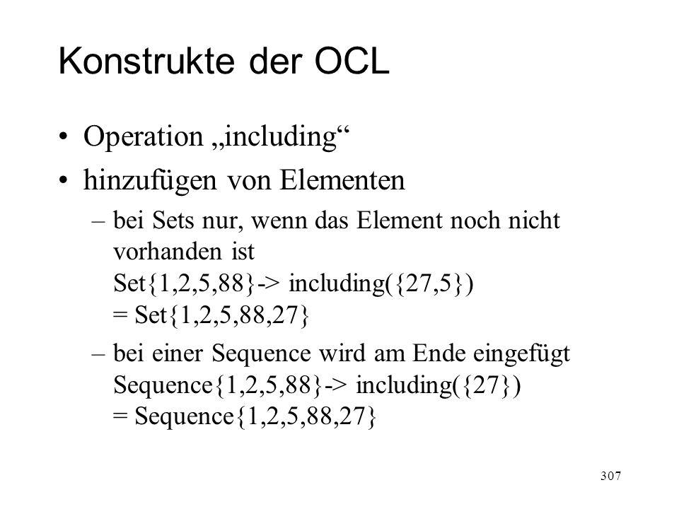 """Konstrukte der OCL Operation """"including hinzufügen von Elementen"""