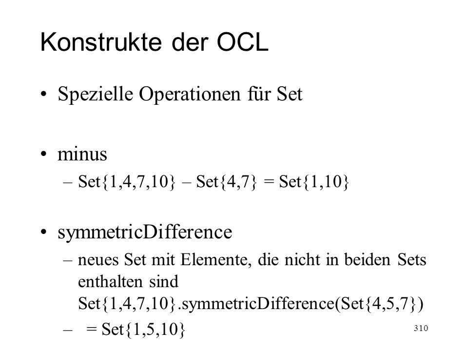 Konstrukte der OCL Spezielle Operationen für Set minus
